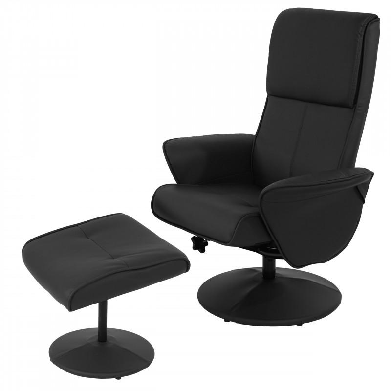 Fauteuil relax, fauteuil tv fauteuil relax tv avec tabouret ~ simili cuir, noir