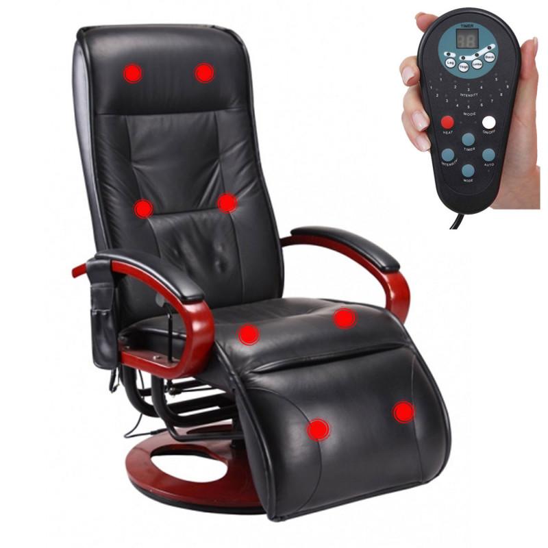 Fauteuil relax de massage ''zen vibration'' noir avec simili cuir