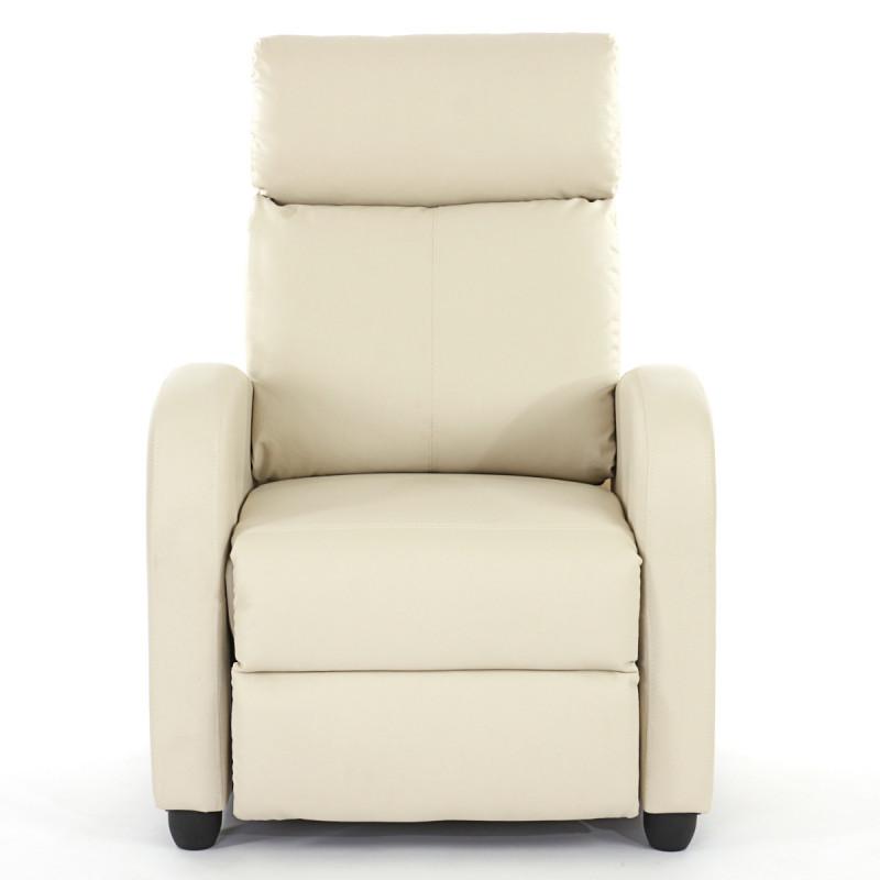 Fauteuil de télévision fauteuil inclinable, simili cuir ~ crème
