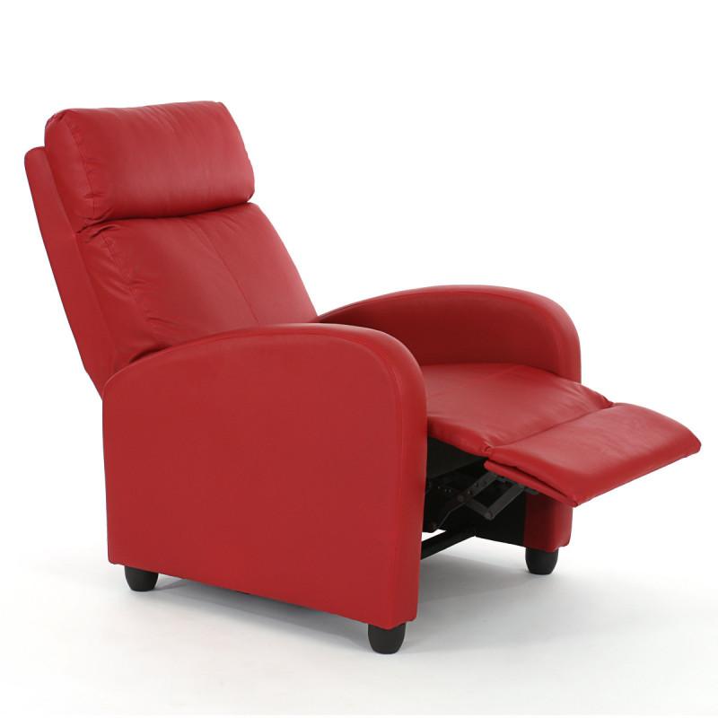 Fauteuil de télévision inclinable fantastic en simili cuir rouge