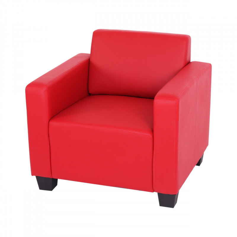 Fauteuil lounge john imitation cuir rouge