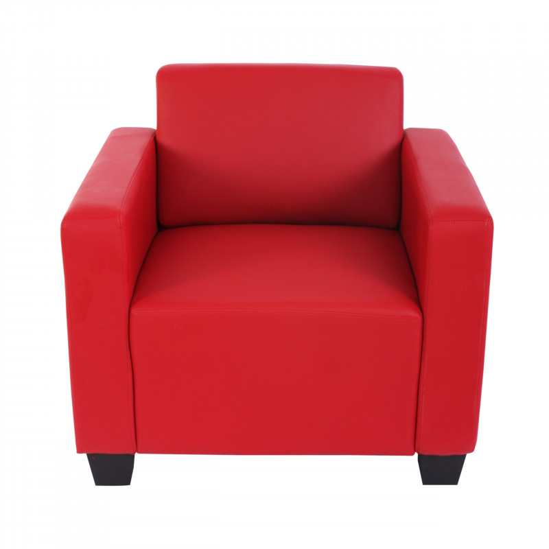 Fauteuil lounge john imitation cuir rouge