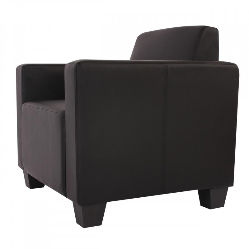 Fauteuil lounge warren imitation cuir noir