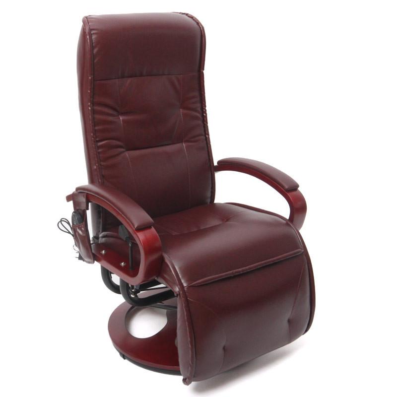 Fauteuil de relaxation et de massage zenu en simili cuir – couleur bordeaux