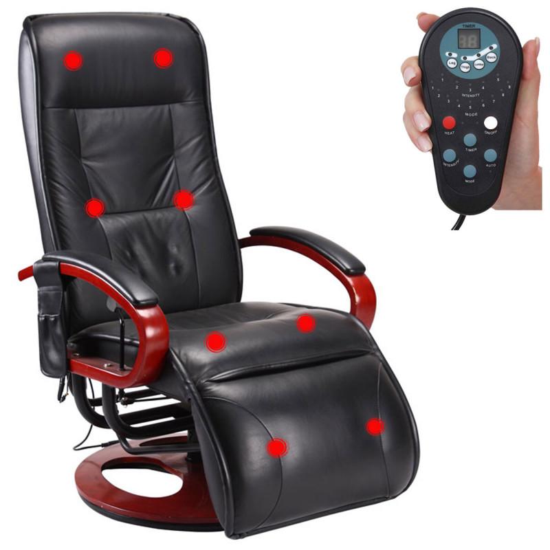 Fauteuil de massage delect en simili cuir noir