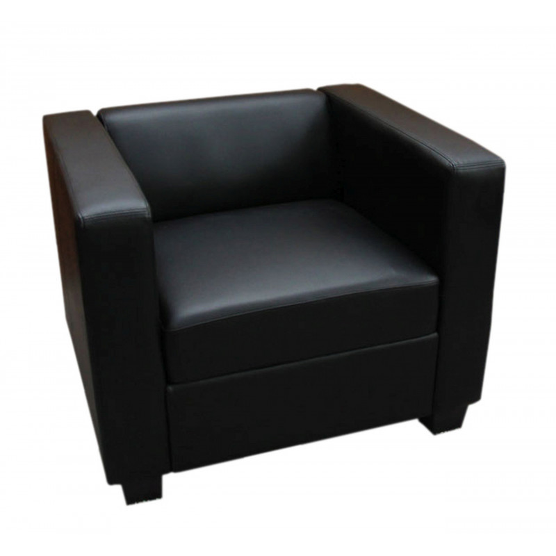 Fauteuil de salon classy en simili cuir noir