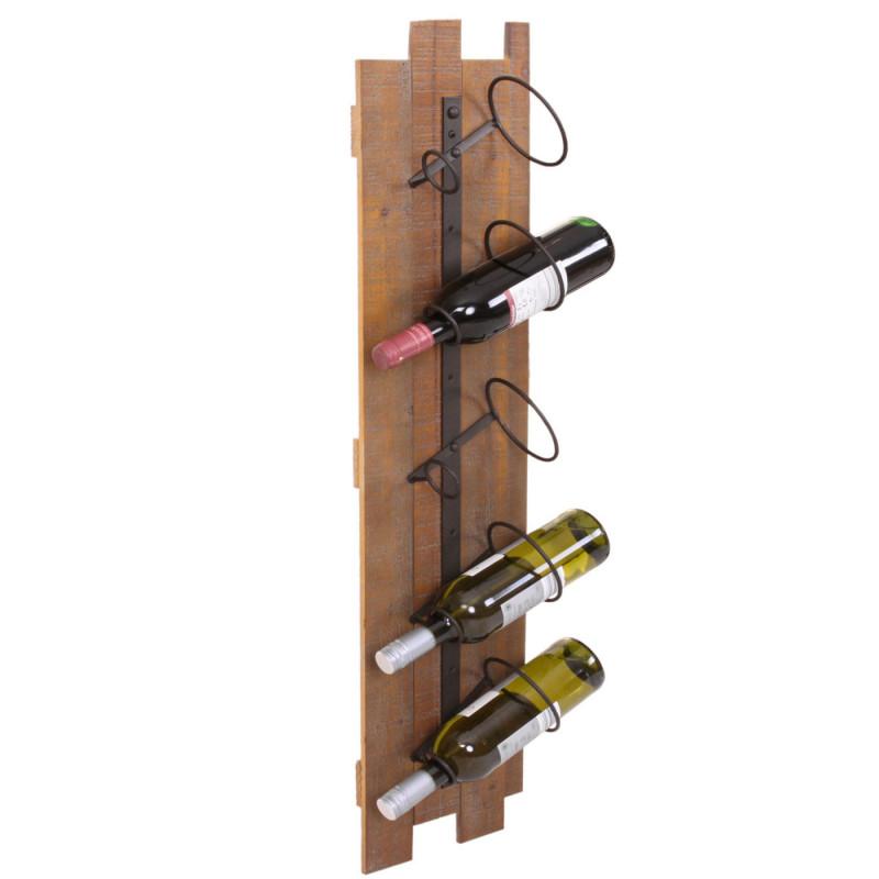 Porte-bouteilles, porte-bouteilles mural, bois métal pour 5 bouteilles 96x23x14cm