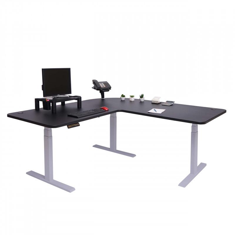 Bureau président, réglable en hauteur électriquement, noir et gris