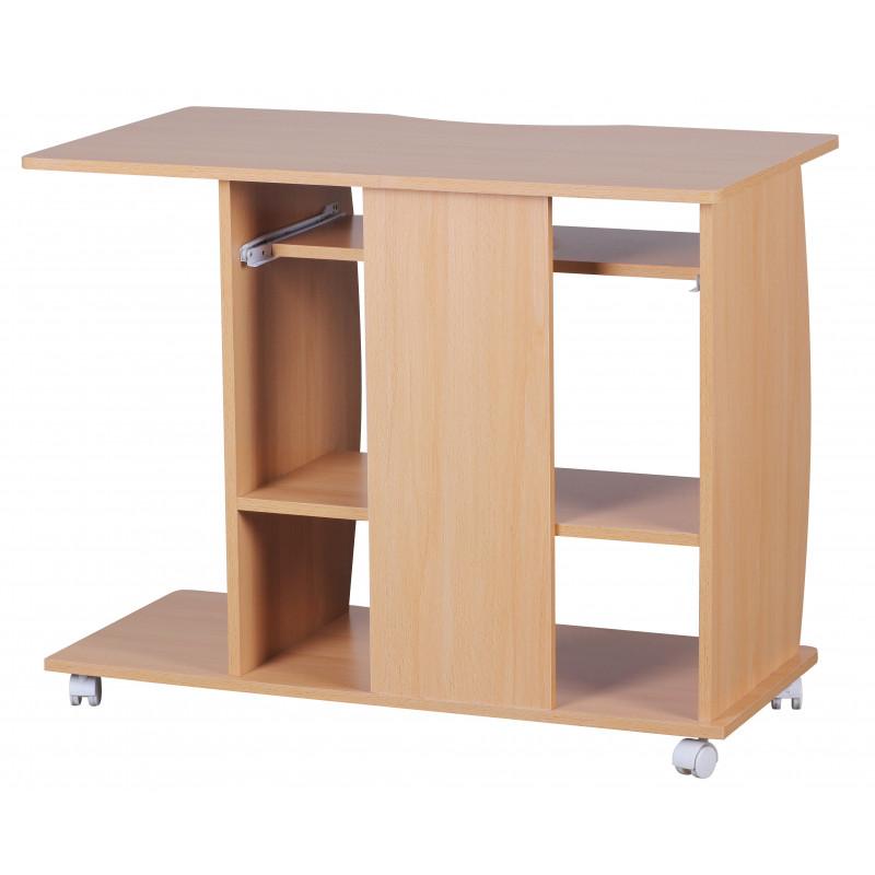 Table d'ordinateur avec roulettes prunelle hêtre