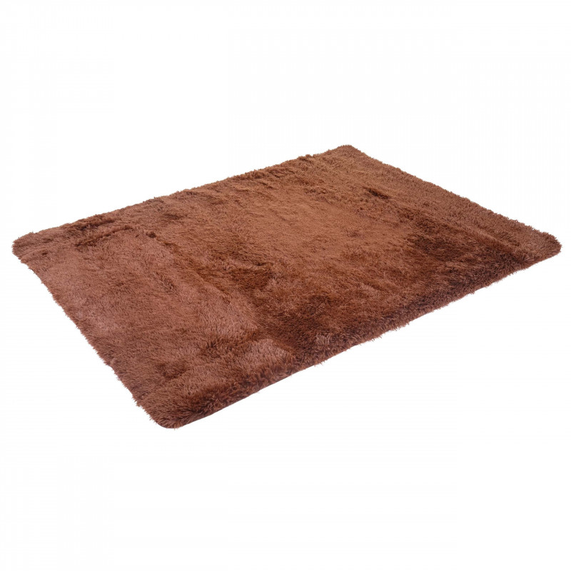 Tapis coureur à poils longs savage en tissu pelucheux - brun foncé
