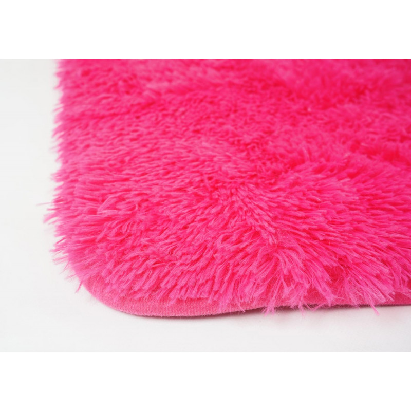 Tapis en peluche mignon à poils longs rose