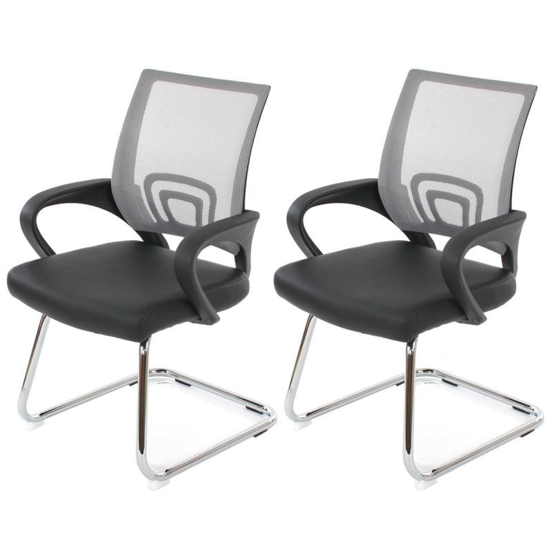 Chaise de visiteur choir en simili cuir gris