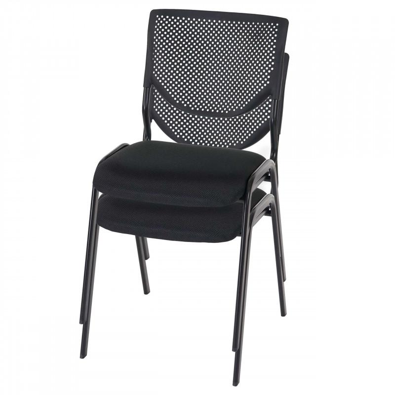 Lot de 2 chaises de conférence empilable gentleman, modèle noir