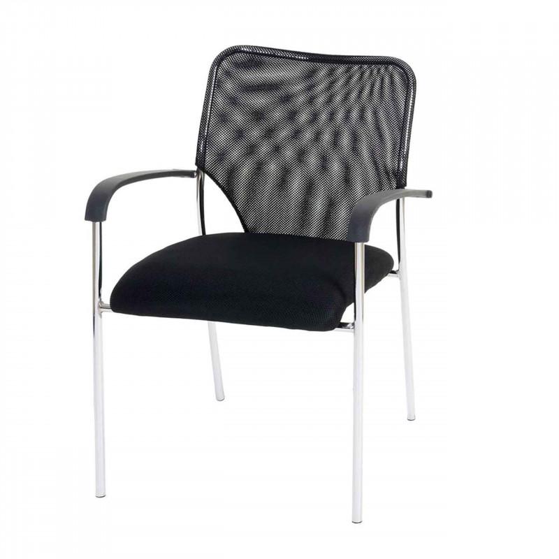 Ensemble de 4 chaises de visiteur leo, modèle noir