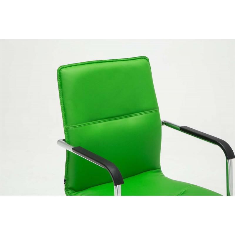 Chaise de conférence cantilever en simili cuir vert naturalis