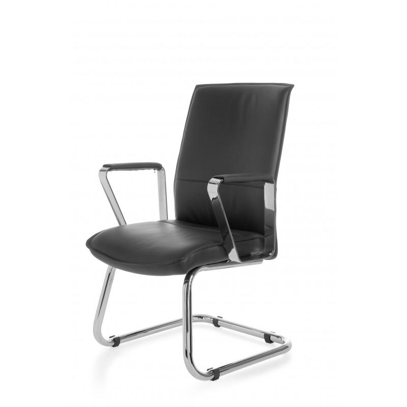 Chaise de visiteur et de conférence gentleman, modèle noir