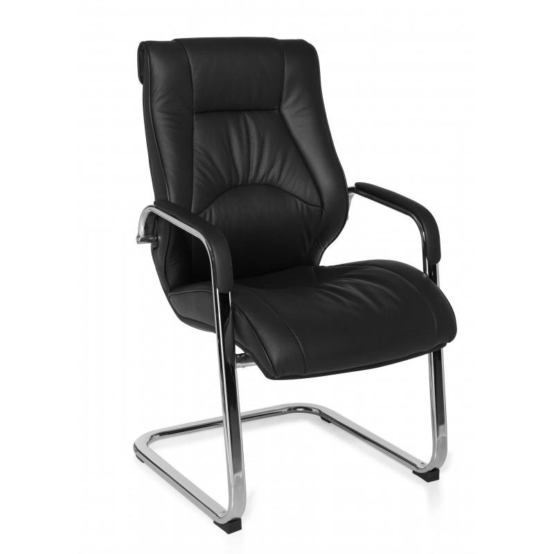 Chaise de visiteur volteface en cuir noir véritable