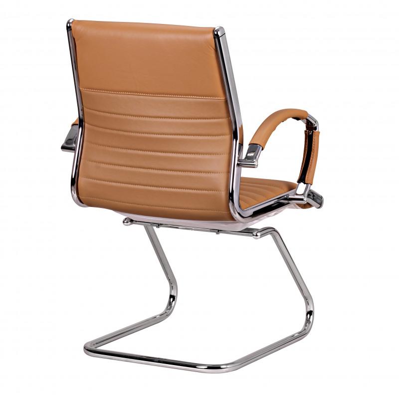 Chaise de conférence nickel caramel