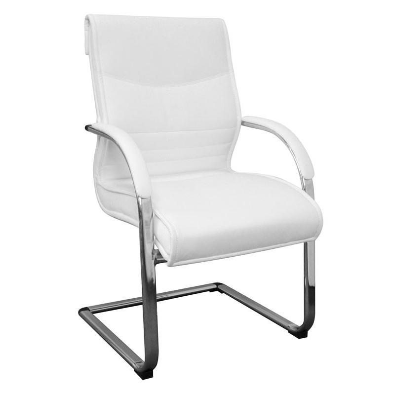 Chaise de conférence luxury en similicuir blanc