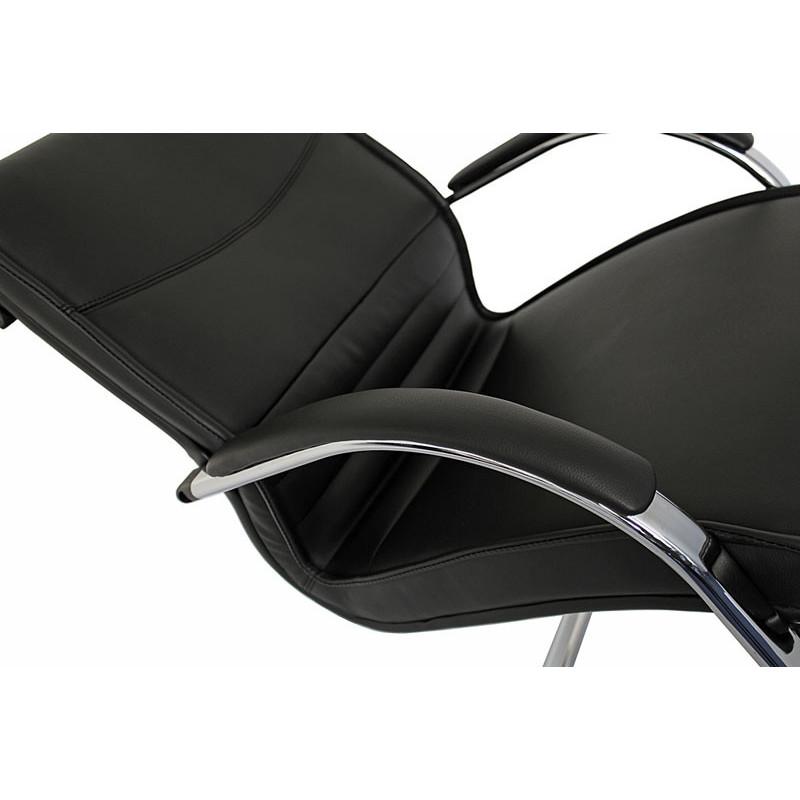 Chaise de conférence smart en similicuir noir