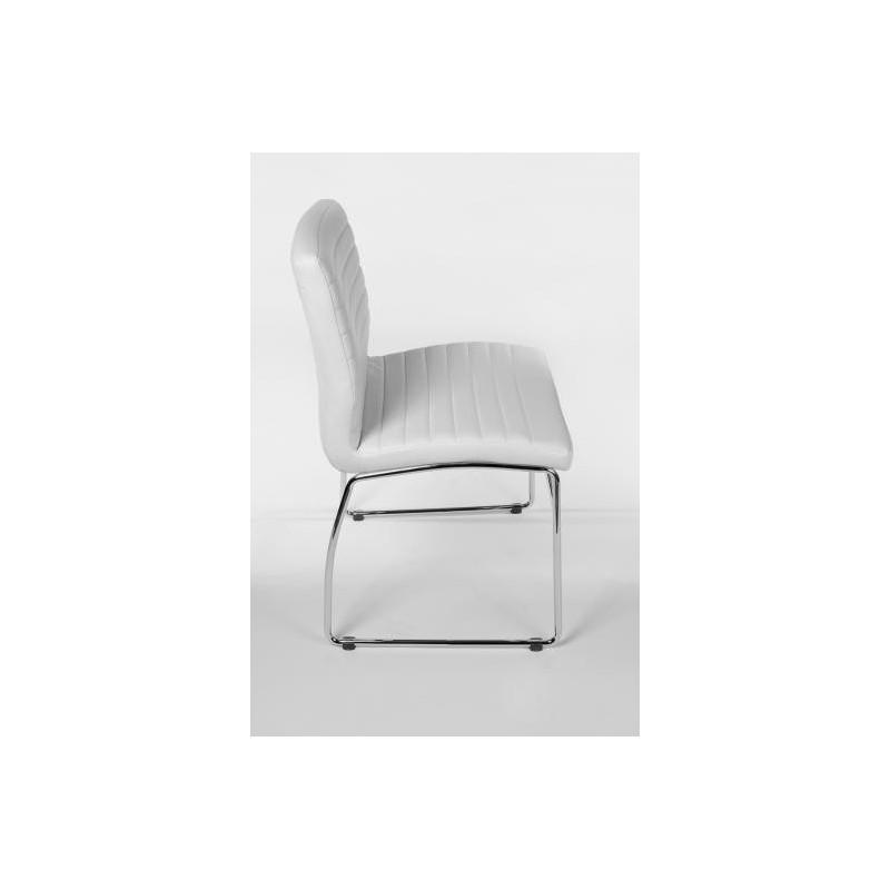 Chaise de visiteur leila en similicuir blanc