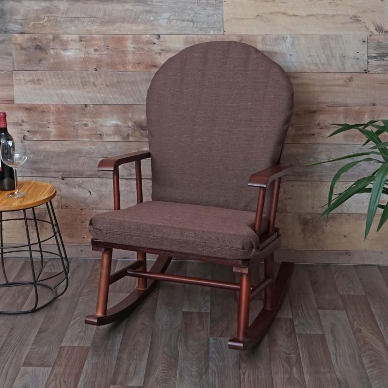 Chaise à bascule bois massif marron maupassant