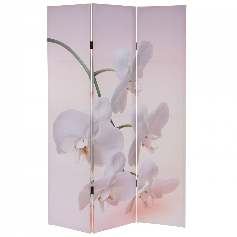 Paravent motif fleur / blanc china
