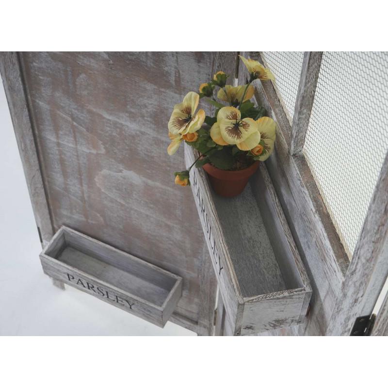 Paravent, cloison de séparation, paniers de plantes, shabby-look vintage, 177x182x20cm
