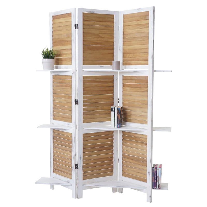 Paravent yvelines en bois vintage, étagères intégrées