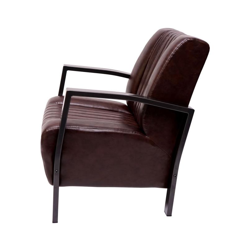 Chaise longue fauteuil rembourré fauteuil relax, métal design industriel ~ brun vintage