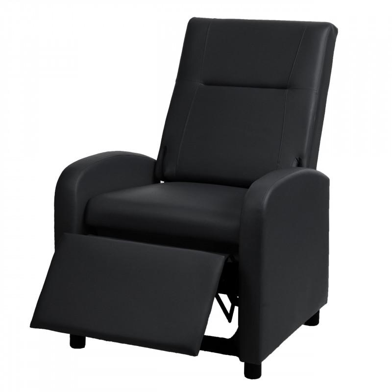 Fauteuil de télévision, fauteuil relax fauteuil inclinable, imitation cuir pliable 99x70x75cm ~ noir