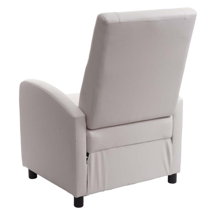 Fauteuil de télévision, fauteuil relax fauteuil relax, simili cuir pliant 99x70x75cm ~ blanc