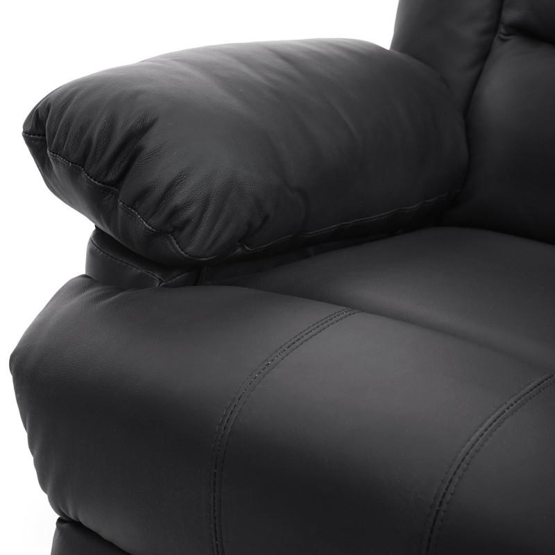 Fauteuil de télévision, fauteuil relax fauteuil relax, cuir + simili cuir 103x83x91cm ~ noir