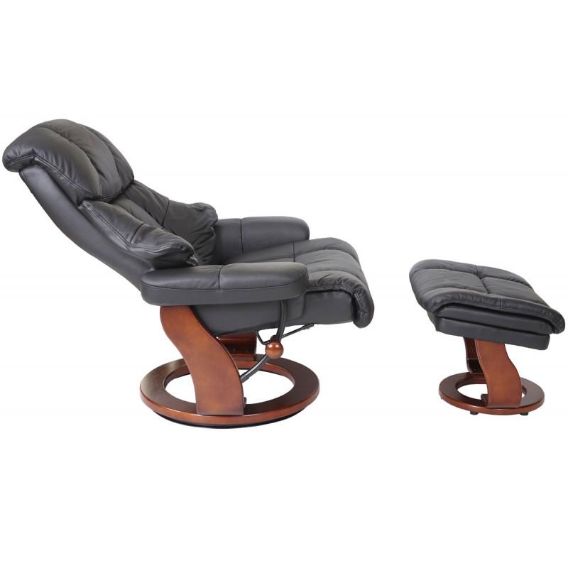 Relax fauteuil +  tabouret de fauteuil tv oromia noir