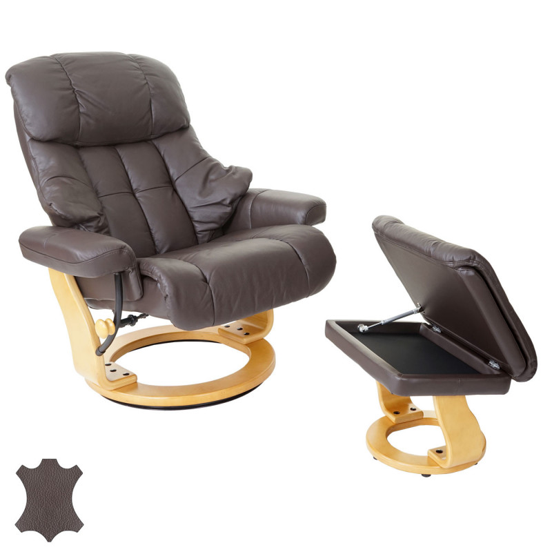 Fauteuil tv max brun inclinable avec repose pied