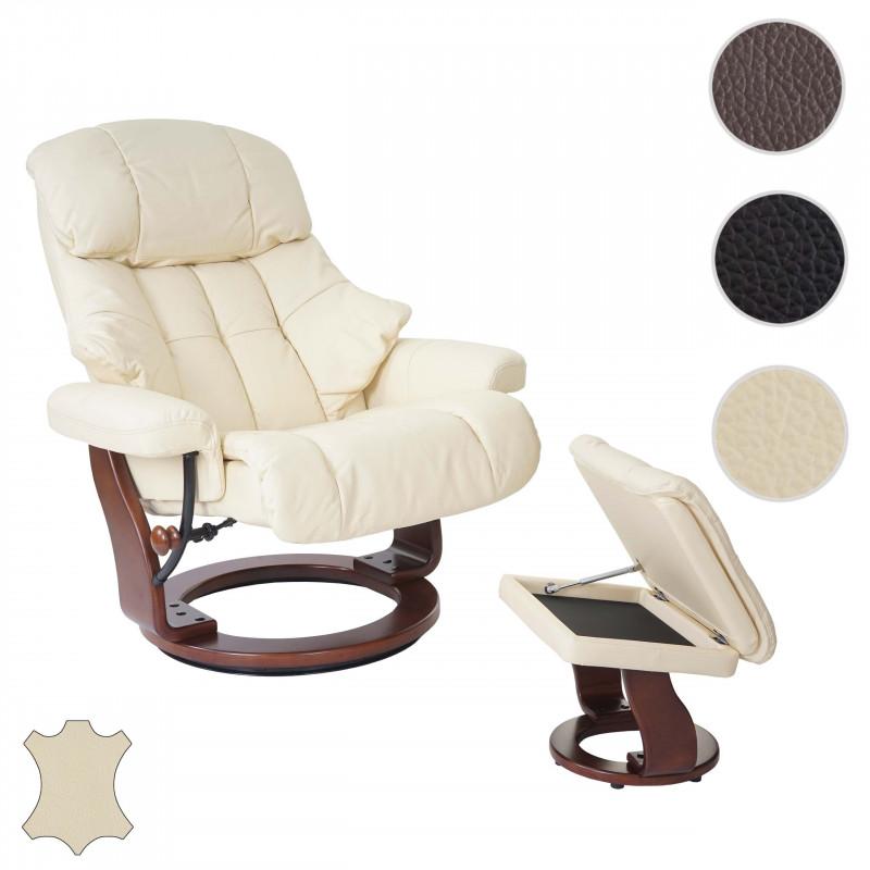 Tabouret de fauteuil tv cute crème noyer