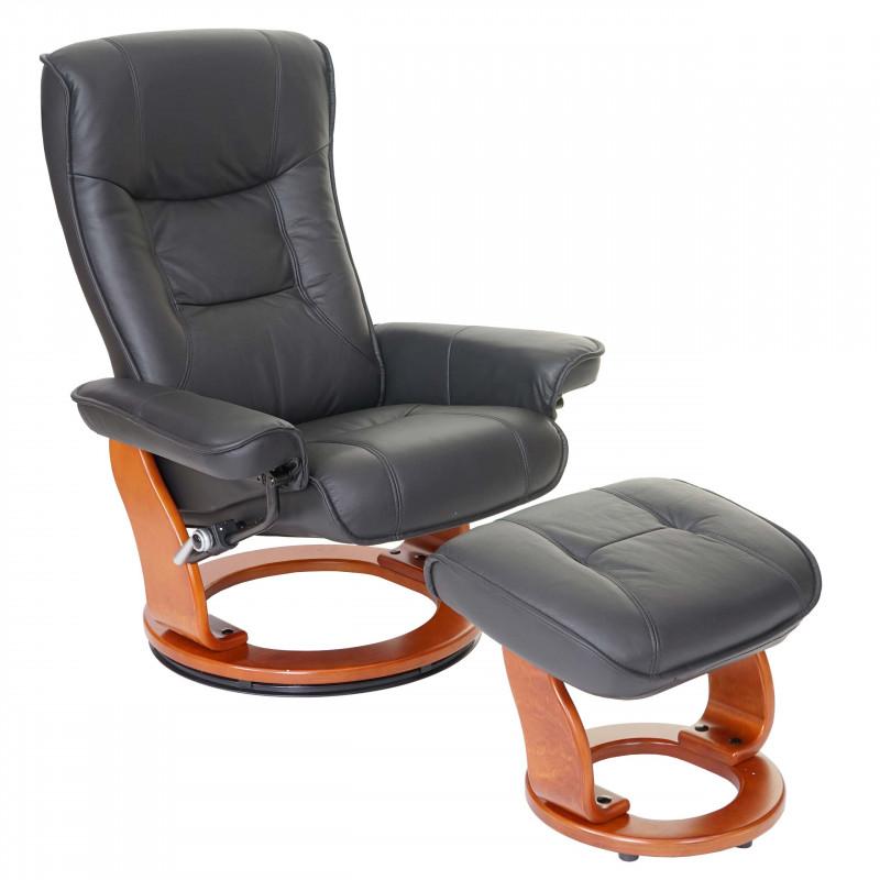 Chaise tv et tabouret en cuir véritable, 130 kg de capacité de charge - noire et couleur miel.