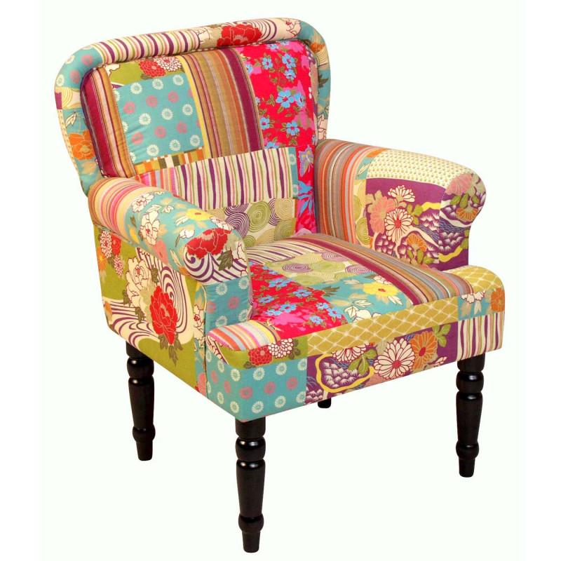 Titre : fauteuil rembourré, fauteuil club, textile, aspect patchwork, 88x71x67cm