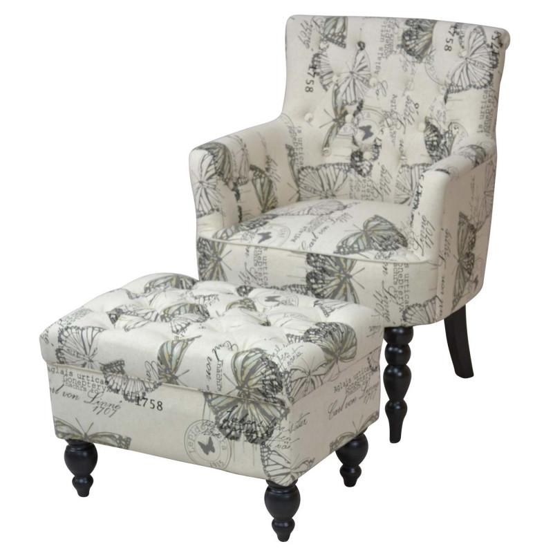 Fauteuil rembourré avec ottoman, fauteuil lounge chair club chair, textile ~ papillon